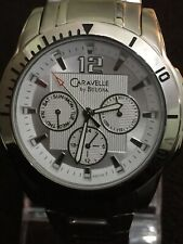 bulova caravelle mens watch,43 mm Case Beautiful Silver Design Face Day/date