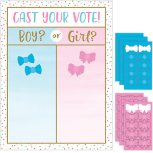 Gender Reveal Baby Shower Party Game Boy or Girl Voting Vote Board