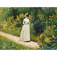 Aublet Reading Garden Path Painting Yellow Green Large Canvas Art Print