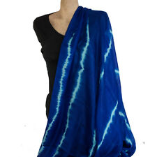 Exquisite Shibori Blue Silk Shawl Wrap
