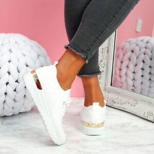 WOMENS LADIES FASHION KNIT TRAINERS LOW HEEL SNEAKERS WOMEN SHOES SIZE UK