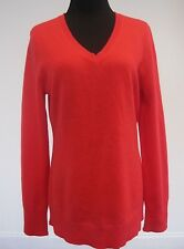 Alex Marie Cashmere Women's Sweater V-Neck 100% Cashmere Red Pullover Top L
