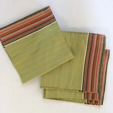 Crate And Barrel KendallStriped Napkins Set Of 6 Green Cotton 20 X  19