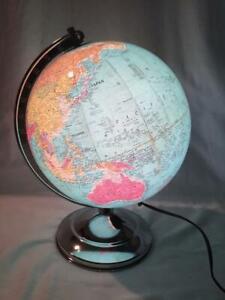 "Vintage Glass 10"" Replogle Library Globe 1949-1956 ILLUMINATED"