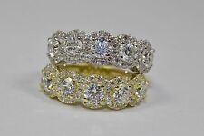 White Round Diamond Band Ring Size 5.75 18K Yellow Gold 5 Stone Band With Halo