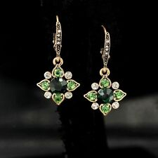 Earring Fashion Hook Golden Green Emerald Crystal Flower Clover Drop Wedding YW7