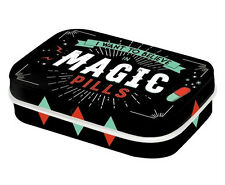 Retro Tin Metal Pill Box 'MAGIC PILLS' filled with Mints - 6 x 4cm Americana