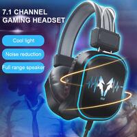 Gaming Headset MIC LED Headphones Bass Surround For PC Mac Laptop