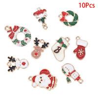 10Pcs/Set Enamel Alloy Christmas Series Charms Pendant DIY Jewelry Making Craft