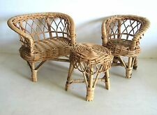 Woven Wicker 3 Pc Set Doll Display Settee Loveseat Chair Table Furniture Free Sh