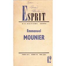 ESPRIT Emmanuel MOUNIER Notes Journal et Lettres de la Prison à CLERMONT en 1942