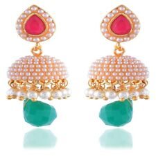 Jhumka Indian Earrings Jhumki Bollywood Jewelry Earrings Set Pearl USA
