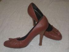 New 7.5 ROBERT & HALL brown heels dark-tan almond-toe leather pumps 10cm heels