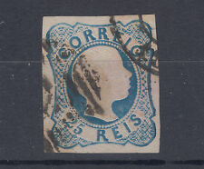 Portugal Sc 10 used 1856 25r King Pedro V, Curled Hair, Type II, F-VF