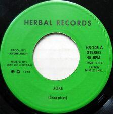 SCORPION 45 Joke b/w Ram & Jam HERBAL RECORDS Calypso 1978 VG++ #B501 HEAR