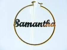 "PERSONALIZED 14K GOLD GF 3.00"" HOOP NAME EARRINGS 3mm"