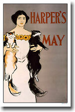 Harper's May Cover 1896 - Woman holding 2 Cats - Vintage Art POSTER
