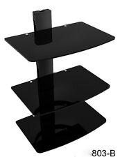 Floating Black Glass Three Shelf DVD Wall Bracket*3 Shelves*Sky*Xbox*Wii*AV unit