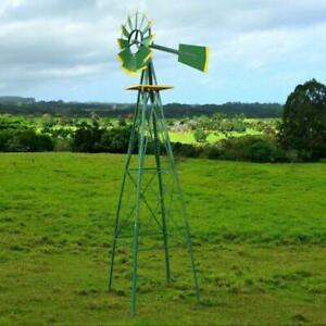 8FT Tall Outdoor Garden Ornamental Steel Windmill Wind Wheel Weather Vane Decor
