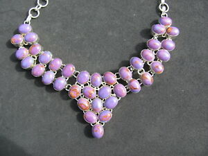 SUGILITE  and Sterling Silver necklace 21 inches 360 cts. stone/silver