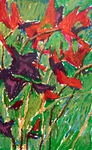 SIMON SHAWN ANDREWS flowers floral impressionist oil pastel daily painting
