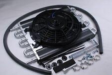 "New Universal Heavy Duty  Transmission Oil Cooler w/ Fan 9"" With Hose Kit"