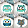 Cartoon Design Cute Owls Pattern Round Floor Mat Bedroom Living Room Area Rugs