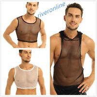 Sexy Men Sleeveless See-through Hooded Vest Tank Top Muscle Clubwear Undershirt
