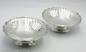 Pair solid sterling silver Art Deco bon bon bowl dishes Adie Brothers 1931 181 g