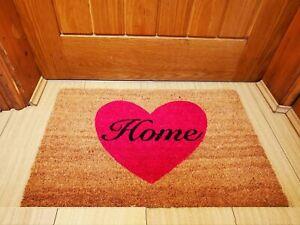 Anti Slip Doormat Rubber Base Natural Coir Kitchen/Front Door Mats Heart Design