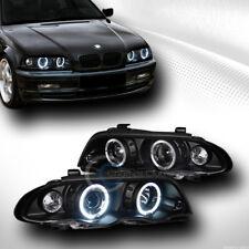 BLACK HALO PROJECTOR HEAD LIGHTS w/SIGNAL CORNER LAMPS 1PC 99-01 BMW E46 4D/4DR