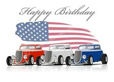 1934 FORD 3 WINDOW HOT ROD 34 COUPE compleanno auguri carta ** TRIPLO **