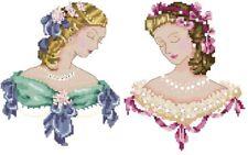 2 Lady Portraits Pink & Blue - Cross Stitch Chart - Free Postage