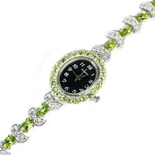 Sterling Silver 925 Genuine Natural Apple Green Peridot & Lab Diamond Watch 7 In