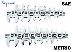 20PC 3/8 DRIVE CROWFOOT WRENCH SET WITH HOLDER - SAE+METRIC