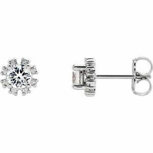 White Sapphire & .08 CTW Diamond Earrings In 14K white Gold