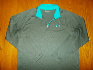 UNDER ARMOUR HEAT GEAR 1/4 ZIP LONG SLEEVE GRAY LOOSE FIT TOP MENS MEDIUM EXCELL