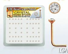 2 ROSE GOLD PL Nose Bone Stud Pin Ring Screws tiny CLEAR Cz L-shape 22g 1.5mm*