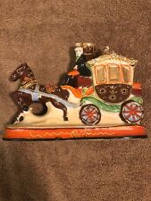 Vintage Porcelain Horse and Carriage Lamp Base Japan