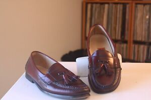 Cole Haan City Burgundy Leather Pinch Tassel Loafers Shoes Men's Size 10 D