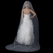 Romantic Bridal 2m Chapel Length Cut Edge Wedding Veil in White w/ Comb