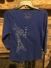 90041841dc3 Onque Casuals Women s Size Large L Elements of Life Ribbed Top Eiffel Towel  Emb