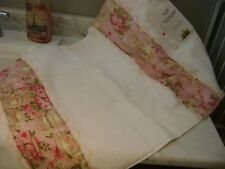 Cottage Chic Garden Teacup Pink Roses,Lace 1 of a KIND Custom Bath mat Hand M.