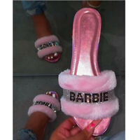 Ladies Womens Flat Slip On Sliders Fluffy Fur Slip Flops Summer Sandals Slippers