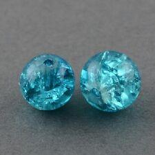 200 X Blue Crackle Glass Beads Joyería Artesanal - 4mm-lb1254