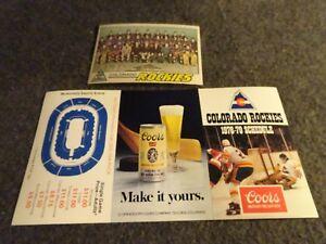 COLORADO ROCKIES HOCKEY POCKET SCHEDULE & TEAM CARD 1970'S