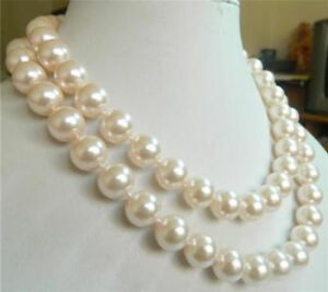 """Genuine 12mm AAA White South Sea Shell Pearl Round Beads Necklace 36"""""""