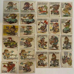 Lot of 24 Donruss 1969 Odd Rods Sticker Cards Original Series Ed Roth Weirdos