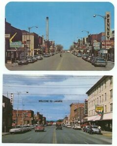 Laramie WY Lot of 2 Vintage Street View Old Cars Postcards Wyoming