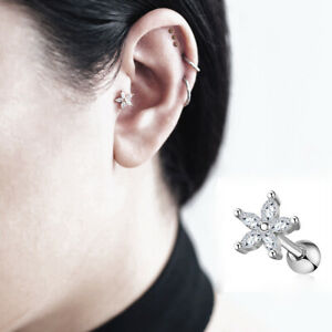 Flower Tragus 6mm Long Cartilage Earring Bar Stud Silver Surgical Steel Ball End